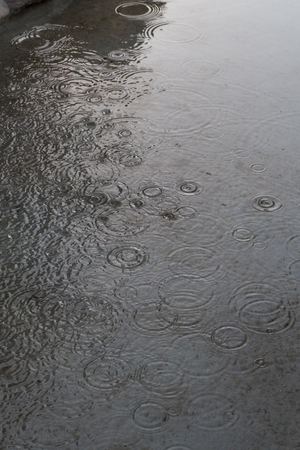 Rain rippling the surface of  water in a concrete fountain, Rome, Italy