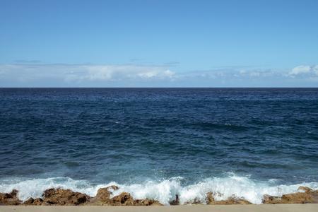 Waves and horizon on the Malecon, Havana, Cuba