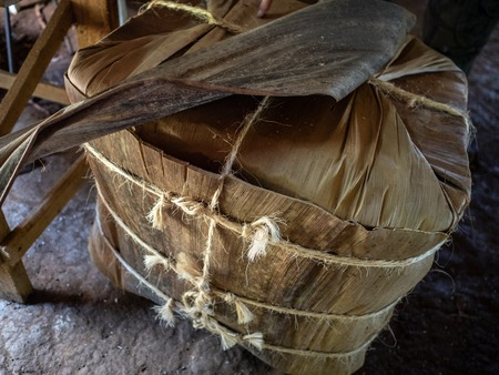Vinales tobacco country, a block of tobacco leaves wrapped up with string ready to be shipped