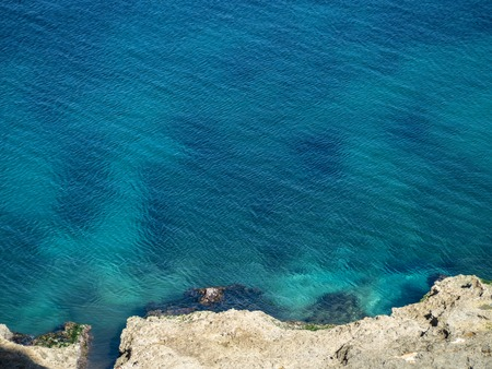 Clear turquoise sea in the Caribbean, with tiny ripples from the breeze