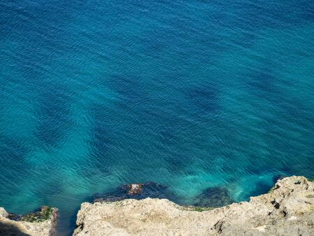 Quiet, clear blue Atlantic Ocean with tiny ripples Stock Photo