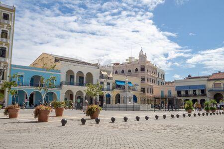 Caribbean sky over the Plaza Vieja in Havana, Cuba