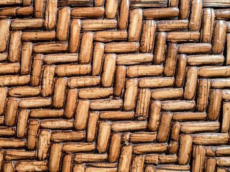 Textured herringbone design made of woven bamboo Stock Photo