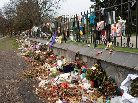 Tributes fading at the mosque shooting memorial in Christchurch, New Zealand