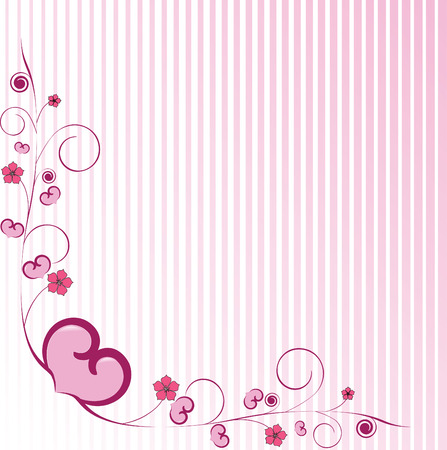 Valentine day background with hearts and flowers Vector