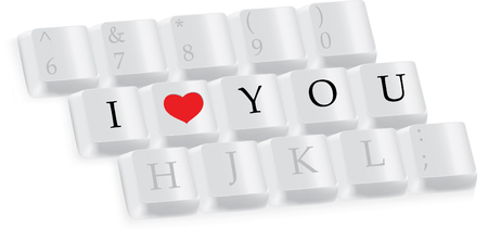 3d part of keyboard with I love you Vector