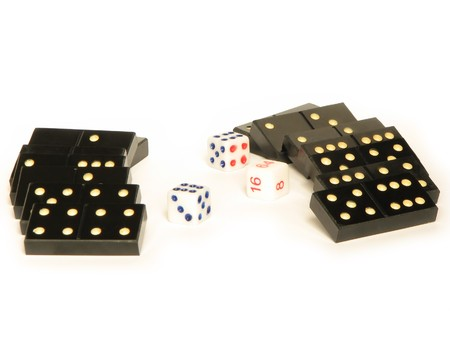 Black domino and white dices isolated on white photo