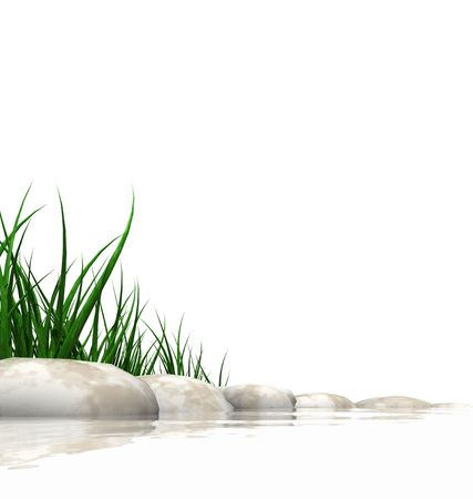 Stones & grass at waters edge isolated on white photo