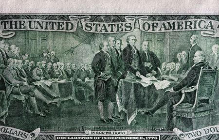 declaration: Back of two dollar bill - showing The Declaration of Independence