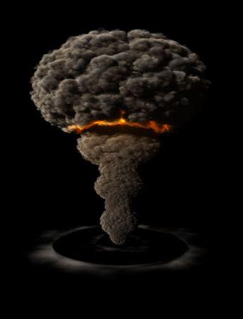 Atomaire explosie met schokgolf Stockfoto