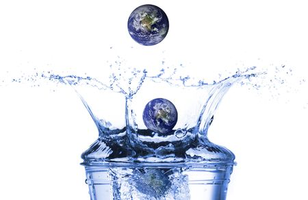 Earth falling in water photo