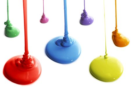 Several colors of paint pouring Stock Photo - 2639498