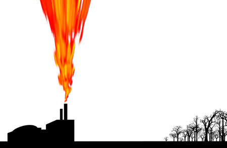 damaging: Pollution given off by factory damaging nearby environment