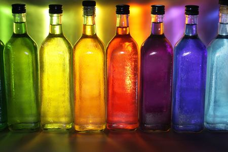 Colorful bottles photo