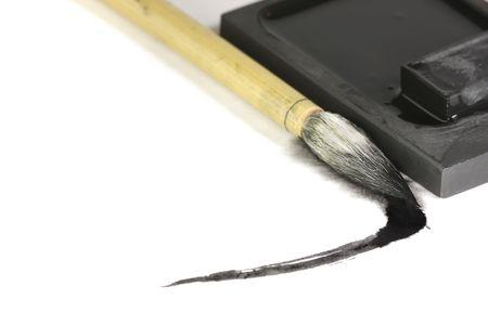 Sumi-e penseel en inkt steen