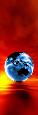 Global warming concept, blue earth against sunset photo