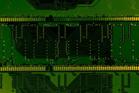 Green & Yellow circuit board background Imagens - 2676331