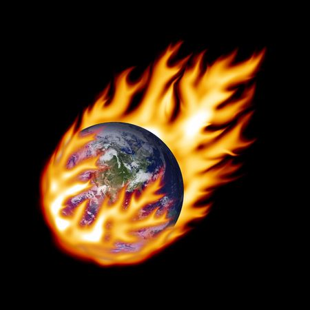 raging: Earth fireball Stock Photo
