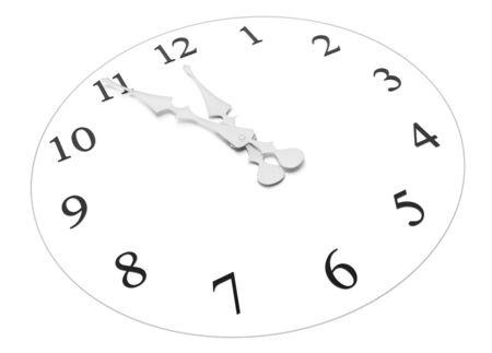 時計を示すほぼ正午または真夜中...
