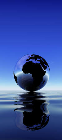 reflection in water: Earth reflection on water against blue sky Stock Photo