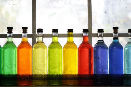 rainbow cocktail: Colorful bottles
