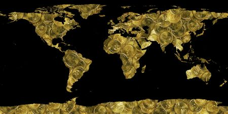 banco mundial: mundo hecho de monedas de oro