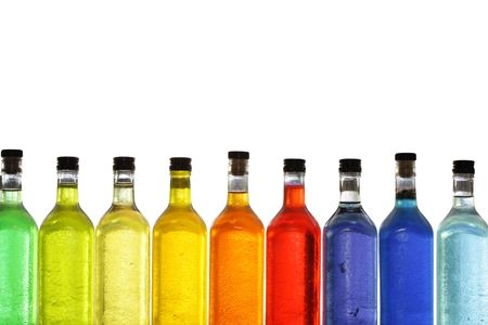 rainbow cocktail: Coloridas botellas Foto de archivo