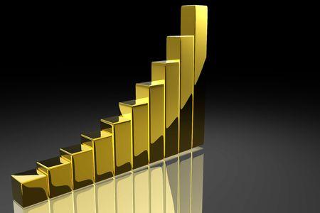 金の棒グラフ 写真素材