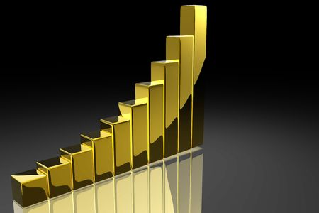stock chart: Bar graph in gold Stock Photo