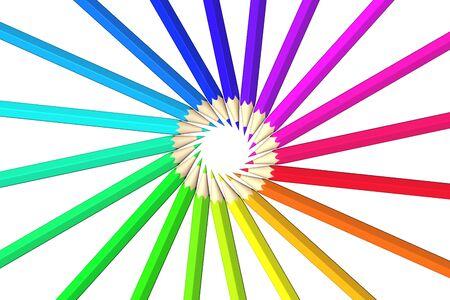 Rainbow of colored pencils photo