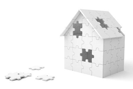 puzzelen: Huis gebouwd van raadsels tukken