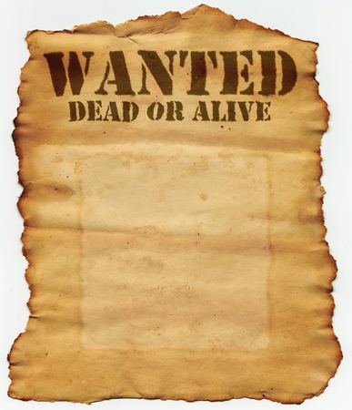 paper sheet: Wanted Dead or Alive