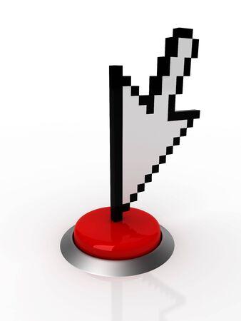 3d cursor pushing red button Stock fotó