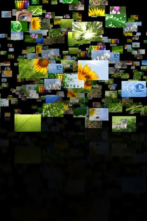 Scattered images with reflection photo
