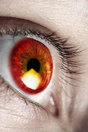 daemon: Bright red eye Stock Photo