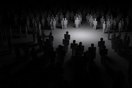 strangers: Crowd of people in the dark Stock Photo