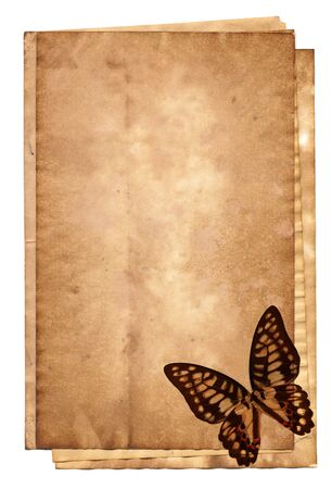 butterfly stationary: Stack of old papers