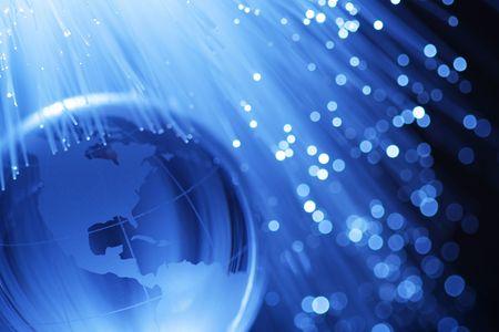 fiber optics: Earth & fiber optics Stock Photo
