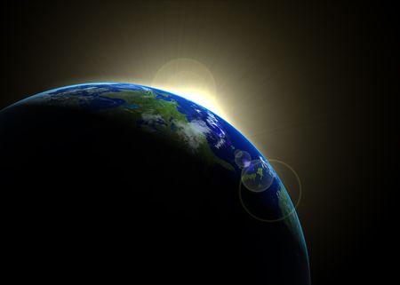 Sun rising against earth Stock Photo - 3720329