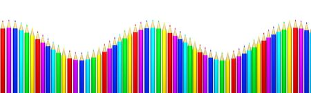 Rainbow of colored pencils Stock Photo