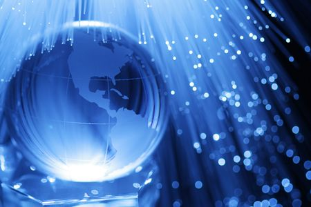 Earth & fiber optics Stock Photo - 3720315