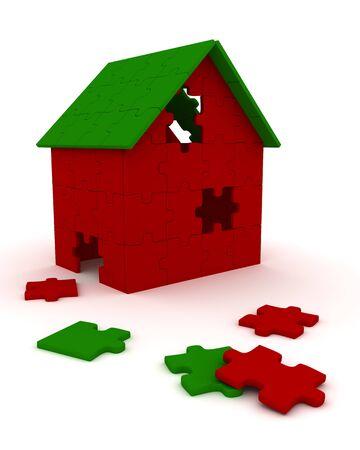 House built out of puzzle pieces photo
