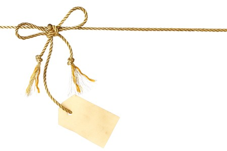 rope background: Bow with tag