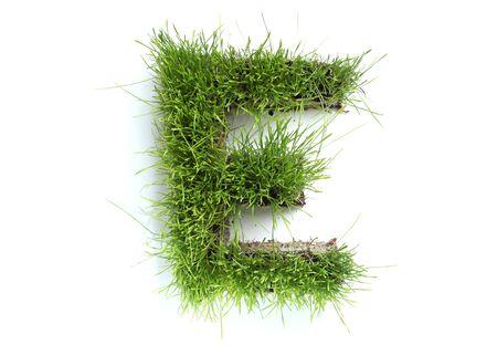 Letters gemaakt van gras - E