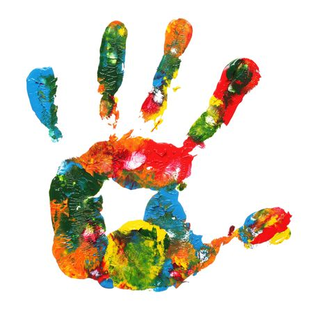blobs: Multicolored hand print