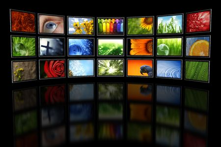 Several TVs with images Stock Photo - 4833701