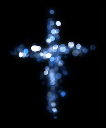 holy god: Cross made of lights
