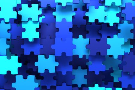 expertise concept: Blue puzzle pieces