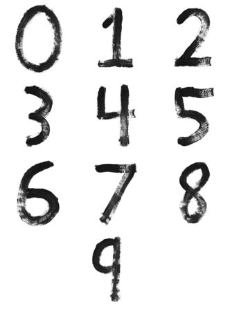 numbers abstract: Set of painted letters, numbers & symbols