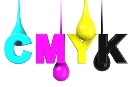 inkjet: Drops in CMYK Stock Photo